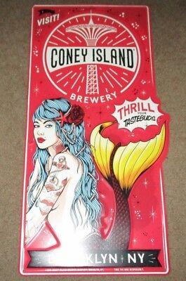CONEY ISLAND BREWING COMPANY Mermaid Pils METAL TACKER SIGN craft beer brewery