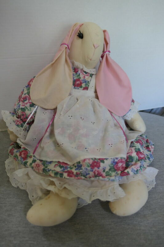 "Handmade 20"" Stuffed Country Bunny Rabbit w Floral Dress, Pinafore & Pantaloons"