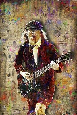 Angus Young of AC/DC Poster, Angus Young of AcDc Art Print 12x18in Free Shipping