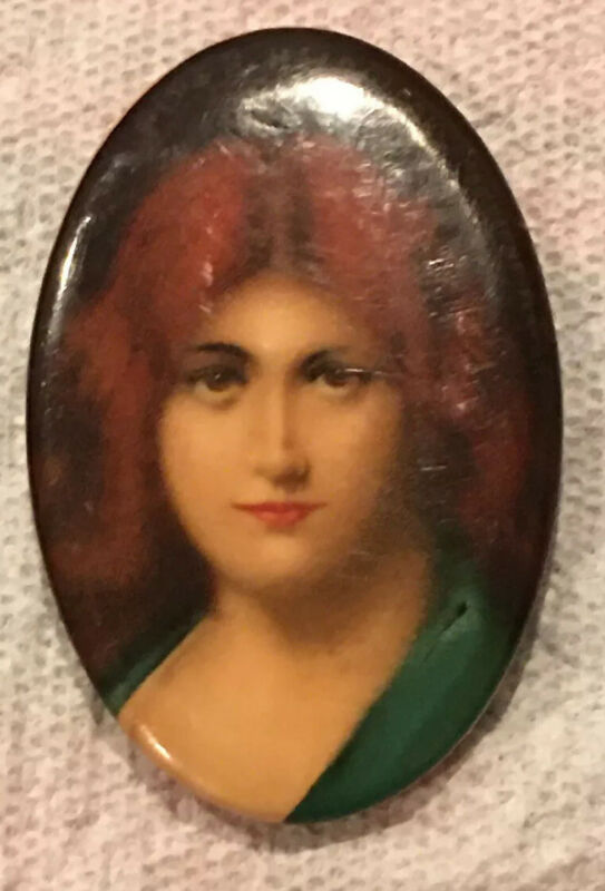 Piper Heidsieck Tobacco Advertising Celluloid Lady Pocket Mirror Whitehead Hoag