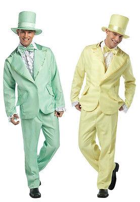 Mens Funny Costume Tuxedo Yellow Green Tux Hat Tie Jacket Cummerbund Pants - Funny Green Costumes