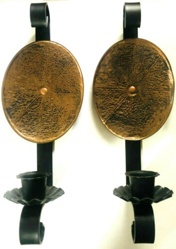 Vintage Hammered Copper Candle Wall Sconces Pair Copper and Black Metal