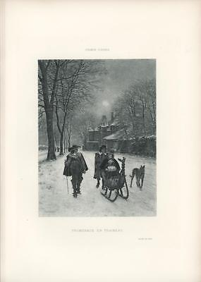 Antique Winter Sleigh Ride Medieval Architecture House Costume Snow Moon Print