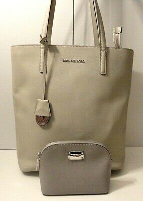 Michael Kors Lot 2 Saff. Leather Tote Office Shoulder Bag Purse Wallet Tag Charm