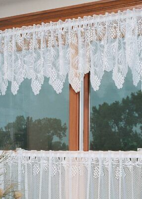 """Heritage Lace Woodland Pinecone White Country Scalloped Valance 60""""x 16"""""""