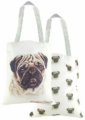 EVANS LICHFIELD MADE IN UK 100% COTTON TOTE CLOTH SHOPPING BAG PUG PUPPY DOG