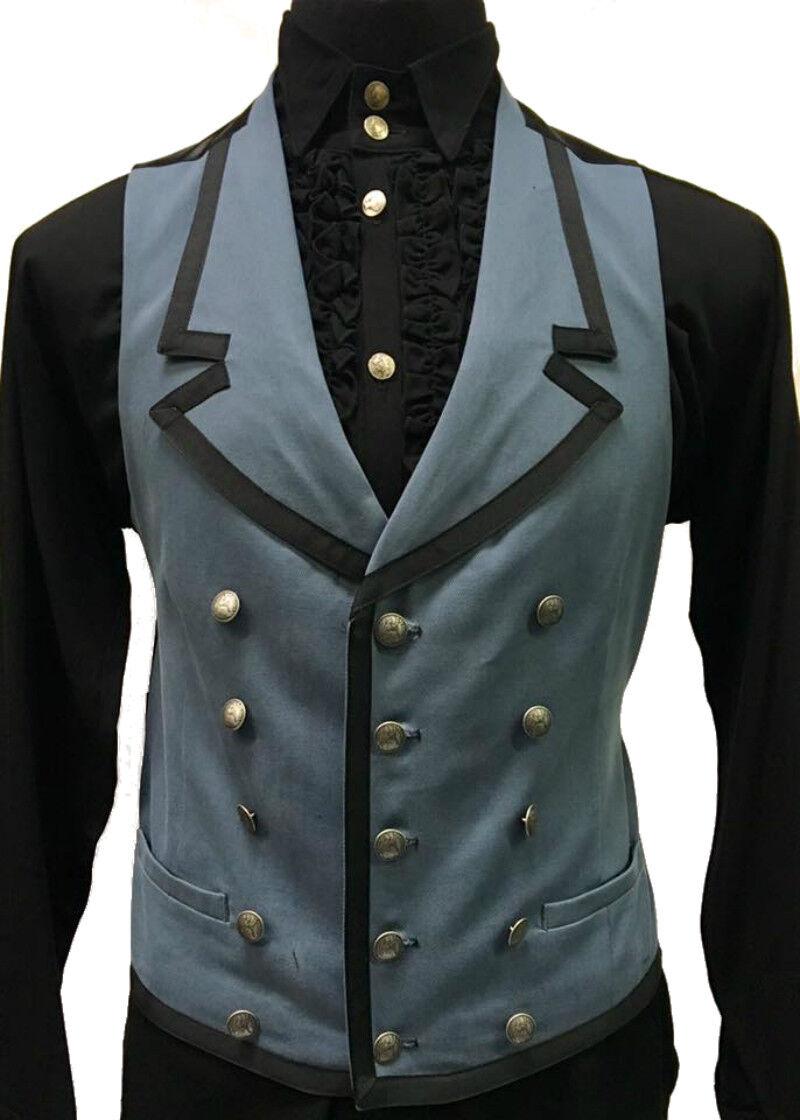 SHRINE GOTHIC COMMODORE BLUE RETRO VAMPIRE VICTORIAN PIRAT STEAMPUNK VEST Clothing, Shoes & Accessories