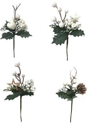 4 rami artificiali decorazioni natalizie con bacche bianche fiori albero natale