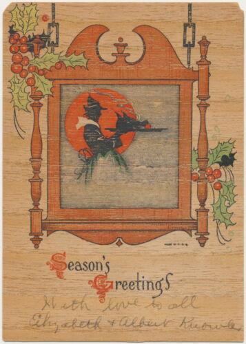 Halloween Witch 1920s Antique Wood Postcard Season