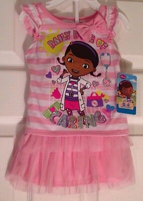 NEW Disney Doc Mcstuffins Infant Pink Tulle Skirt and Striped Shirt Outfit 12M