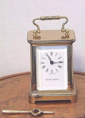 Miniature Carriage Clock Matthew Norman 8 Day Timepiece Corniche, Switzerland