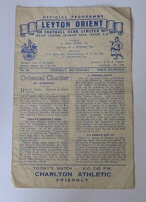 1956/57 Leyton Orient v Charlton Athletic. Friendly 26/January.