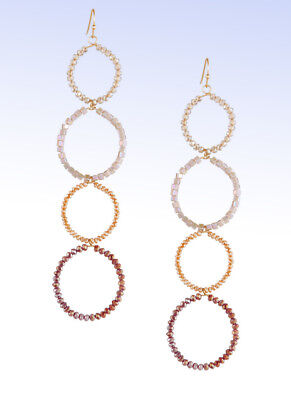 - PANACEA Gold-Tone Crystal Linear Circle Drop Earrings