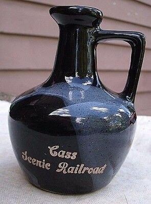 vintage Cass Scenic Railroad Jug Pitcher,1976,Paden City Artware,pottery,black