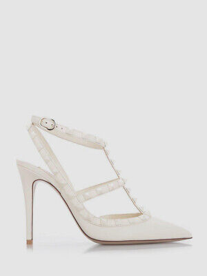 $1399 Valentino Women's Ivory Rockstud Ankle Strap Pump Shoes Size 35/US 5