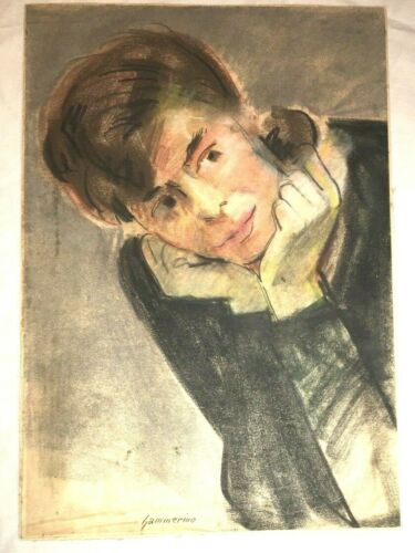 Aurelio Yammerino Drawing HAND SIGNED New York City Listed Artist NYC Vtg