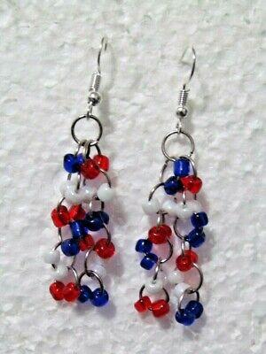 Handmade Beaded Wire Earrings (Patriotic Bicentennial Seed Bead Dangle 1.50