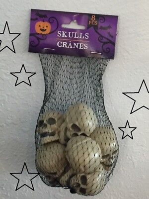 8pc set HALLOWEEN Party Fun! Plastic Skeleton SKULLS Haunted House Prop - Plastic Skeleton