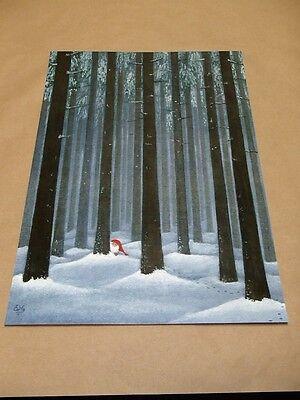 Scandinavian Swedish Tomte Gnome in Forest like Helje Print Poster Eva Melhuish