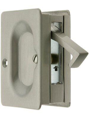 2 Pocket Door Lock Satin - Heavy Duty 3 1/4-Inch x 2 1/4-Inch Passage Pocket Sliding Door Lock Satin Nickel
