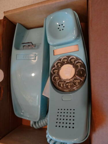 Vintage ITT Trendline Baby Blue Wall Mount Telephone NOS 25412 Produced 11-78
