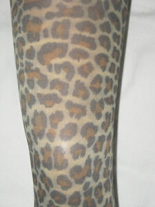 Leopard-Print-Opaque-Footless-Tights-8-12-Full-Length-NEW-brown-natural-punk