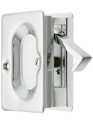 Heavy Duty 3 1/4-Inch x 2 1/4-Inch Passage Pocket Sliding Door Lock Chrome