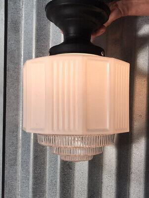 Vintage Authentic Art Deco Flush Mount Ceiling Light Fixture Lavender Milk Glass