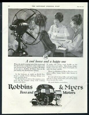 1927 Robbins & Myers electric fan illustrated vintage print ad