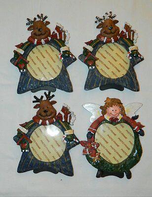 Four Christmas Theme Photo Frames - 3 Reindeer, 1 Angel - 2