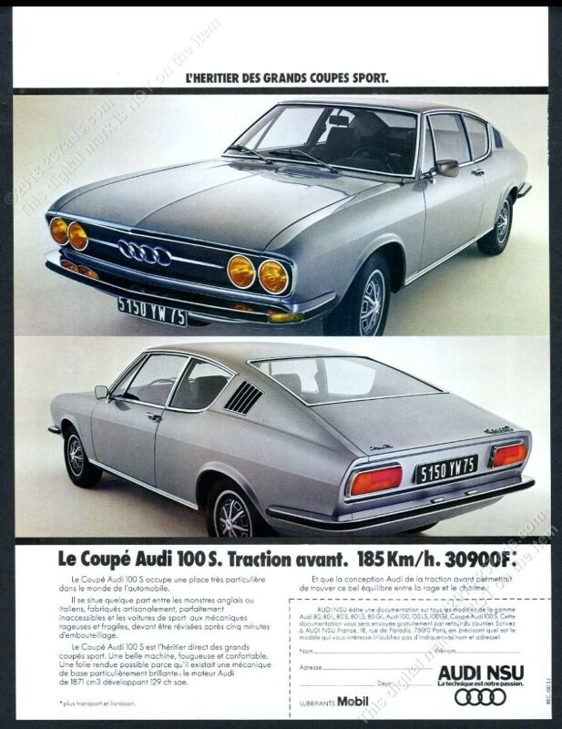 1973 Audi 100S 100 S Coupe car photo scarce French vintage print ad