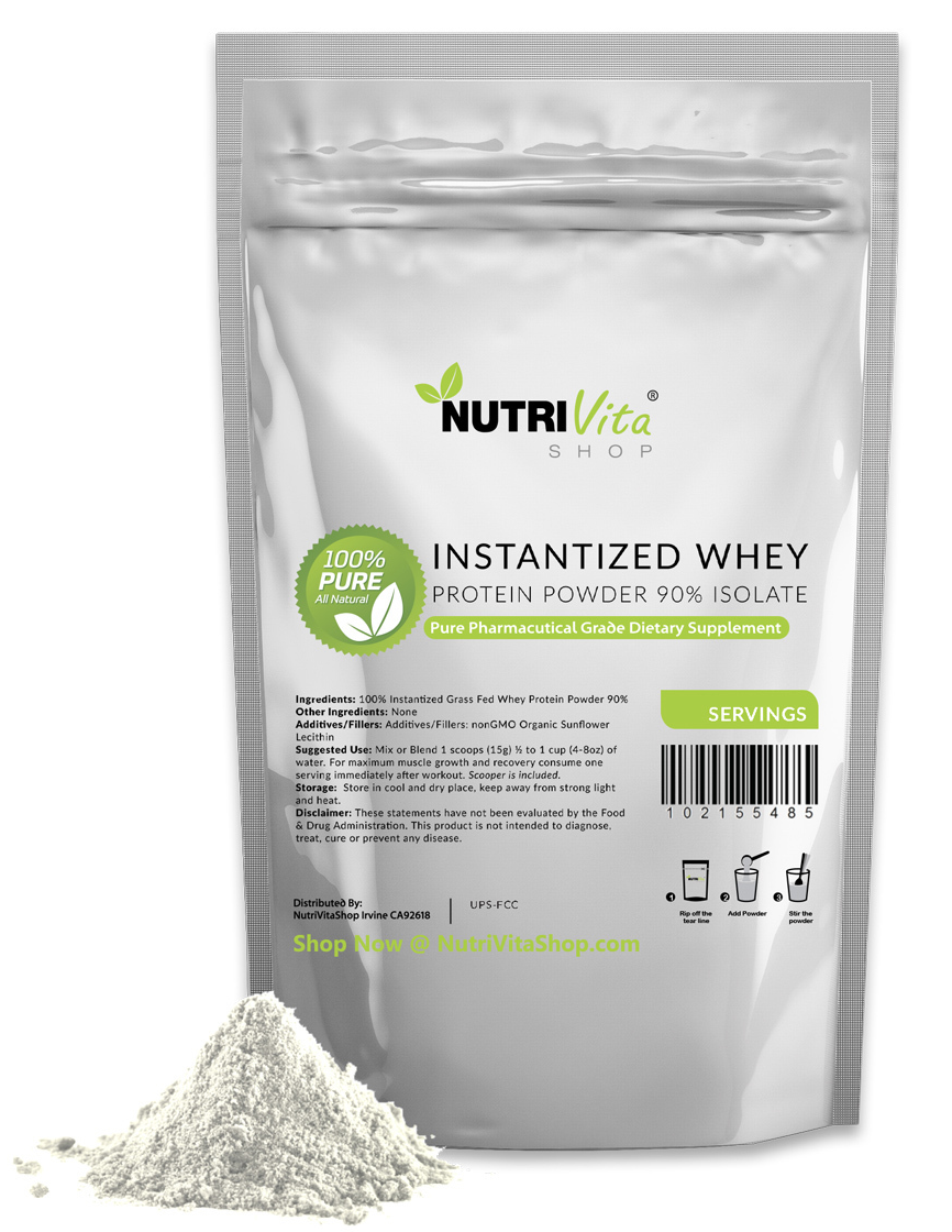 2lb 100% Pure Organic Instantized Whey Protein Isolate 90% +