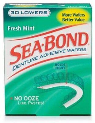 - SEA-BOND Denture Adhesive Wafers Lowers Fresh Mint 30 Each