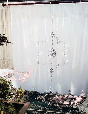 """Vintage Style Battenburg Lace Shower Curtain~Cotton~Pure White~72""""*72""""~Elegant~"""