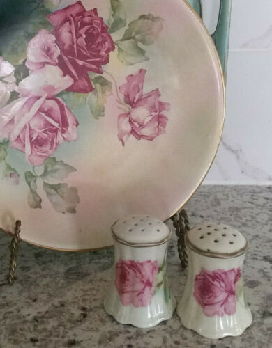 Antique 1920's Salt & Pepper Shakers Hand Painted Pink Roses Victorian Austria