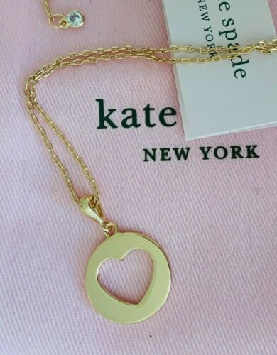 """Kate Spade New York """"Symbols"""" heart cutout pendant gold plated necklace"""