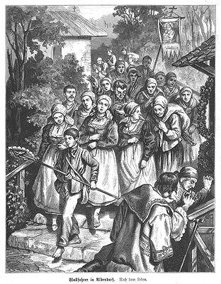 Albendorf, Wallfahrt, Schlesien, Polen, Ansicht,Original-Holzstich von 1882