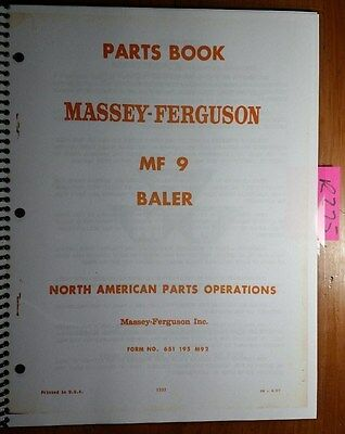 Massey Ferguson Mf9 Mf 9 Baler Parts Book Manual 651 195 M92 867 W Updates 571