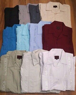 Guayabera Men's Short sleeve. Wedding, bar-tending, special occasion Embroidered