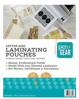 Pengear 50-ct Thermal Laminating Pouches Letter Size 9 X 11.5 3 Mil Glos...