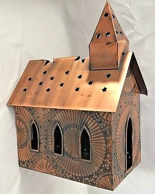"""Decorative 7X10X13"""" Copper Metal Church with Star Roof Candle Holder"""