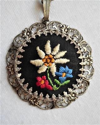 Hand Embroidered Finished Floral Silver Tone Filigree Vintage Pendant Necklace