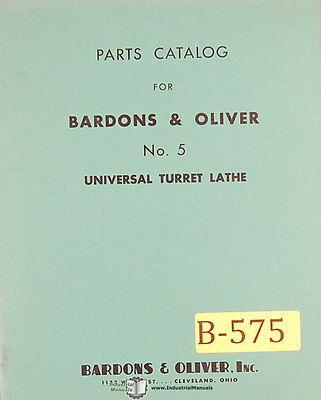 Bardons Oliver No. 5 Turret Lathe Parts Manual 1941