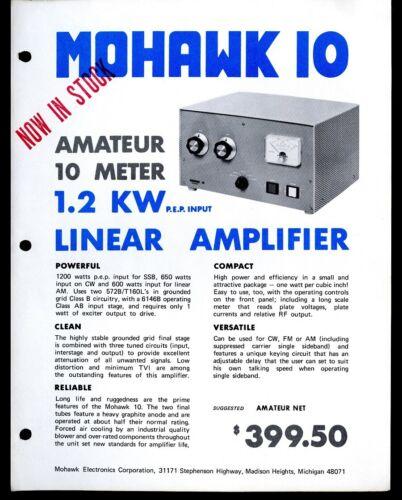 Vintage MOHAWK 10 LINEAR AMPLIFIER CITIZEN BAND Advertising Sales Spec Sheet