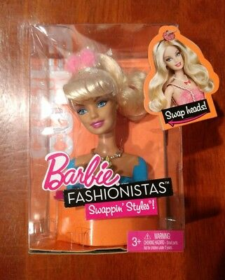 NEW Barbie Fashionistas Swappin Styles CUTIE Doll Head Blonde Swap Styles