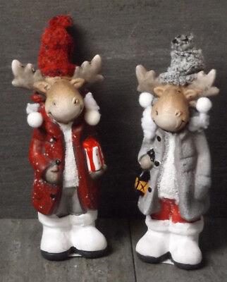 hten Deko 2er Set Weihnachtsschmuck Winter Keramik 19*7*6 cm (Elch Weihnachtsschmuck)
