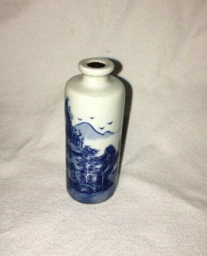 Asian Chinese Qing Kangxi Dynasty Handmade Painted Snuff Bottle Vase