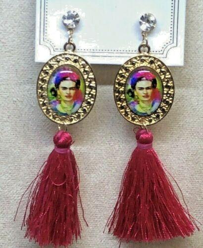 Frida Kahlo With Tassel Fuchsia Fashion Earrings