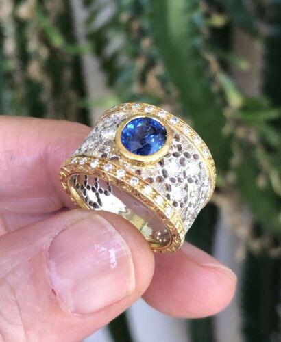 18KTT Diamonds Sapphire Art-deco Design Size 7