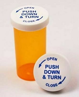 30 Count 20 Dram Amber Medicine And Pill Bottles Vials With Cr Lids. New